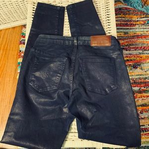 LEVIS MADE & CRAFTED NAVY BLUE GLAZED COTTON JEANS